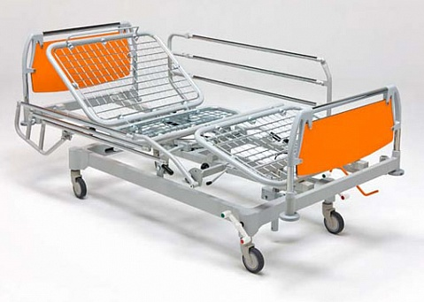 Кровать больничная 4-х секционная с фиксированной высотой, на колесах, регулировка секций - газовыми пружинами, тренделенбург,    11-CP156