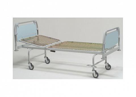 Кровать больничная 2-х секционная с фиксированной высотой,  на колесах, регулировка секций - газовыми пружинами,  11-CP129